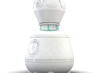 TAO Clean Orbital Facial Brush and Cleansing Station Super Nova White Electric Face Cleansing Brush with Patented Docking Technology  Ergonomic Handle  Dual Speed Settings