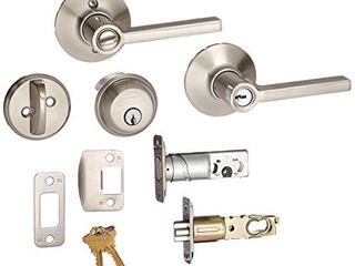 Deadbolt  Keyed 1 Side  and latitude lever Security Set  Satin Nickel  FB50VlAT619