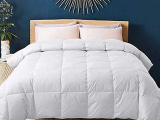 WhatsBedding 100  Cotton Down Comforter with Corner Tabs White Goose Duck Down and Feather Filling Medium Warmth All Season Duvet Insert or Stand Alone Comforter Queen Full