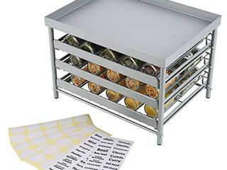 Upgrade Version   TQVAI Stackable 30 Jars 3 Tier Spice Rack Organizer with Pull Out Drawers and labels   Fit for Countertop  Cabinet  Pantry   Frosted Silver
