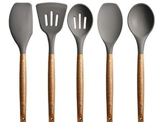 Miusco Non Stick Silicone Cooking Utensils Set with Natural Acacia Hard Wood Handle  5 Piece  Grey  High Heat Resistant
