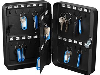 AdirOffice Key Steel Security Storage Holder Cabinet Valet lock Box  48 Key  Black