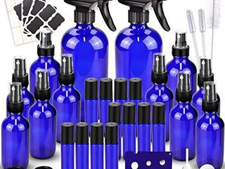 Glass Spray Bottles Kits  BonyTek Empty 12 10 ml Roller Bottles  12 Amber Essential Oil Bottle 2 x 16oz 2 x 4oz 8 x 2oz  with labels for Aromatherapy Cleaning Products
