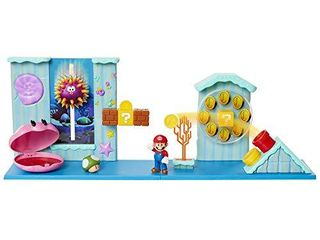 SUPER MARIO Nintendo Deluxe Underwater Playset with 5 Interactive Environmentpiece Includes 2 5 Mario Figure  1 Up Mushroom Accessory   Warp Pipe Coin launcher