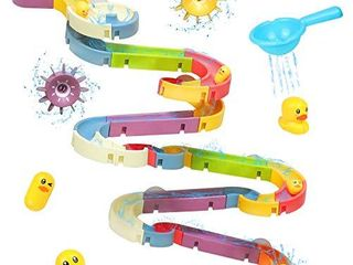 Fajiaobao Kids Bathtub Ball Track Assemble Set 66 Pcs Bath Stem Toys for Toddler Colorful Bathroom Slide Suction Cup Water Floating Duck Baby Shower Games Birthday Gifts for Boys Girls Children