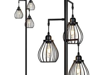 Industrial Floor lamp for living Room  Tree Floor lamp with 3 Elegant Teardrop Cage Head  ST58 Edison lED Bulbs  Sturdy Base Tall Vintage Pole light Great for Farmhouse Rustic Home Bedroom Office