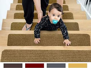 EdenProducts Non Slip Carpet Stair Treads  15 Count 8x30 Beige  Pre Applied Adhesive