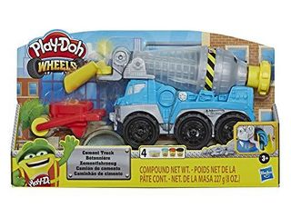 Play Doh Wheels Cement Truck Toy for Kids Ages 3   Up with Non Toxic Cement Colored Buildin  Compound Plus 3 Colors