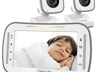 Video Baby Monitor  4 3  High Resolution Display  2 Cams for 2 Rooms  15 Hour Battery life  1000ft Range  2 Way Communication  Secure Privacy Wireless Technology