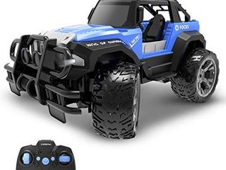 DEERC DE42 Remote Control Car RC Racing Cars 1 18 Scale 80 Min Play 2 4Ghz lED light Auto Mode Off Road RC Trucks with Storage Case All Terrain SUV Jeep Cars Toys Gifts for Boys Kids Girls Teens Blue