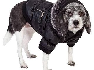 PET lIFE Classic Metallic Fashion Pet Dog Coat Jacket Parka w  3M Insulation and Removable Hood  Medium  Jet Black