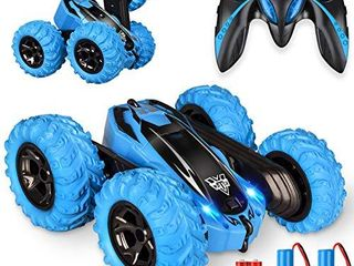 Remote Control car 2 4GHz Electric Race Stunt Car  Double Sided 360 Rolling Rotating Rotation  lED Headlights RC 4WD High Speed Off Road for 3 4 5 6 7 8 12 Year Old Boy Toys  Blue