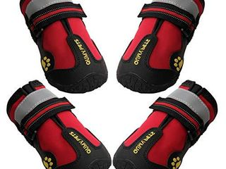 QUMY Dog Boots Waterproof Shoes for Dogs with Reflective Strips Rugged Anti Slip Sole Black 4PCS  Size 4  2 6 x2 1 lW  Red