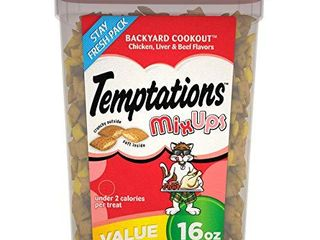 TEMPTATIONS MIXUPS Crunchy and Soft Cat Treats Backyard Cookout Flavor  16 oz  Tub