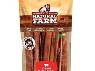 Natural Farm Bully Sticks   Odor Free  Extra Thick Dog Treats  12 Inch long  5 Pack  Fully Digestible 100  Beef Treats  Supports Dental Health Keep Your Dog Busy with 50  longer lasting Chews