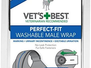 Vet s Best Washable Male Dog Diapers   Absorbent Male Wraps with leak Protection   Excitable Urination  Incontinence  or Male Marking   Small Medium   1 Reusable Dog Diaper Per Pack