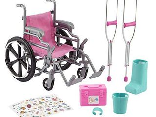 Journey Girls Wheelchair Playset for 18 Inch Dolls  Includes Cast and Crutches  Amazon Exclusive