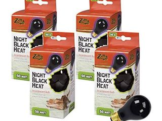 Zilla 4 Pack of Reptile Terrarium Heat lamp Incandescent Bulbs  Night Black  50W