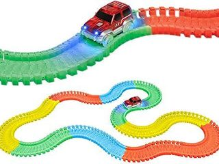 World Tech Toys Galaxy Flex Track 220Piece Glow Track with Electric led light Car