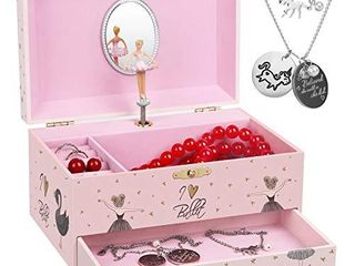 efubaby Jewelry Box for Girls Music Box Girls   Unicorn Necklace and Bracelet Jewelry Boxes with Spinning Ballerina   Drawer Musical Jewelry Boxes for girls Birthday Gift Jingle Bells Tune