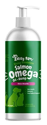 Zesty Paws Salmon Omega Oil   Hemp for Dogs   Cats   with Wild Alaskan Salmon Oil   Omega 3   6 Fatty Acids with EPA   DHA for Pets   Supports Normal Skin Moisture   Immune System Function   16oz