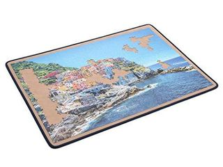 Becko Jigsaw Puzzle Board Portable Puzzle Mat for Puzzle Storage Puzzle Saver  Non Slip Surface  Sturdy and Movable  Up to 1500 Pieces  Blue Khaki