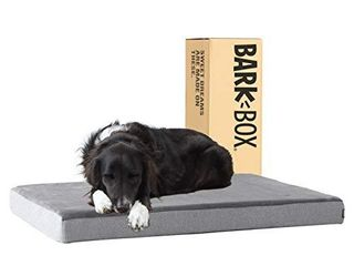 Barkbox Dog Bed   Memory Foam Mattress 3  High Density for Orthopedic Joint Relief   Machine Washable Crate Mat with Removable Cover and Water Resistant lining   Includes Squeaker Toy