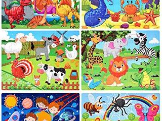 Puzzles for Kids Ages 4 8  Wooden Jigsaw Puzzles 60 Pieces Preschool Toddler Puzzles Set for Boys and Girls 6 Puzzles