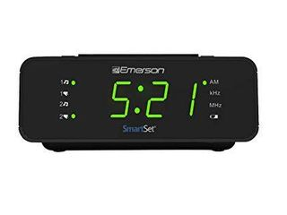 Emerson SmartSet Alarm Clock Radio with AM FM Radio  Dimmer  Sleep Timer and  9  lED Display  CKS1900