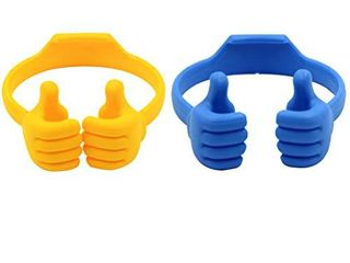 Honsky Thumbs up Cell Phone Stands  Tablet Display Stands  Cellphone Holder  Mobile Smartphone Mount Cradle for Desk Desktop a Universal Multi Angle Cute  2 Packs  Yellow  Blue
