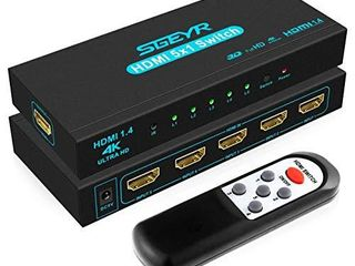 HDMI Switch SGEYR 5x1 HDMI Switcher 5 in 1 Out HDMI Switch Selector 5 Port Box with IR Remote Control HDMI 1 4 HDCP 1 4 Support 4K 30Hz Ultra HD 3D 2160P 1080P