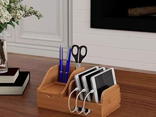 lavish Home Charging Station Eco Friendly Compact Modern Bamboo Multiple Electronic Device Cord Management Dock for Tablet  Phone  Smartwatch