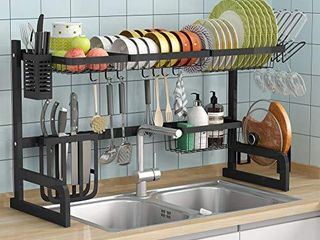 Over the Sink Dish Drying Rack   1Easylife Adjustable 2 Tier large Dish Dryer Rack for Kitchen Organizer Storage Space Saver Shelf Utensils Holder with 7 Utility Hook Tableware Drainer  Black