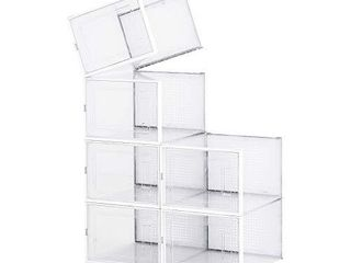 PARANTA Stackable Shoe Storage Box  Clear Plastic Organizer  Removable Sports Shoe Box  Set Of 6  White  X large