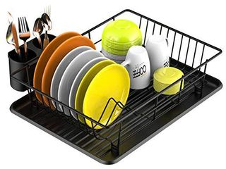 Dish Drying Rack  Veckle Sink Side Dish Rack with Drainboard Cutlery Utensil Holder Dish Drainer Wire Rack for Kitchen Countertop  Black