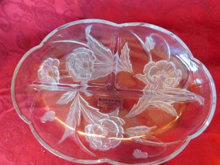 Beautiful floral edged divided glass tray
