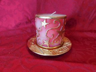 Pink and Gold Ornate Candle