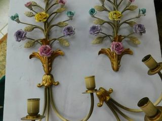 Ornate Wall Candle Holders  Pair
