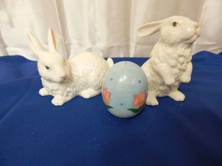 6520 Two  2  ceramic Easter bunnies