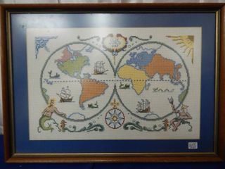 Olde World Map Cross Stitch