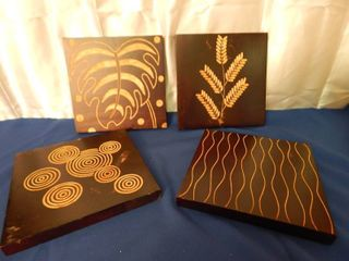 Wooden Trivet Wall Art  Set of 4
