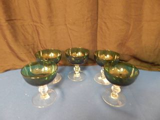 Set of 5 Dark Green Champagne Glasses