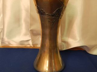 Silver Chalice Vase with Raised Bird Design