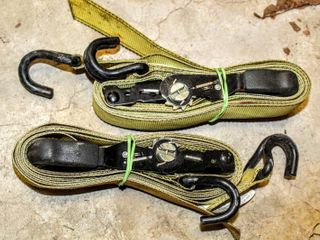 2  GOODYEAR Racing Yellow 2  Tie Down Ratchet Straps