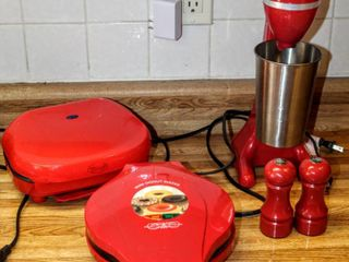 Red Kitchen lot   Kitchen living Milk Shake Maker  Bella Cucina Mini Donut Maker  Nostalgia Electronics appliance   Salt   Pepper Shakers