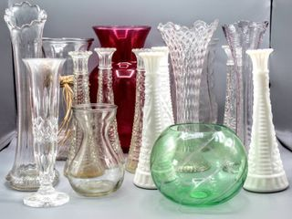 16  Piece lot of Vases   includes Milk Glass   Crystal