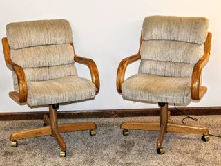 2  Upholstered Oak Rolling Chairs