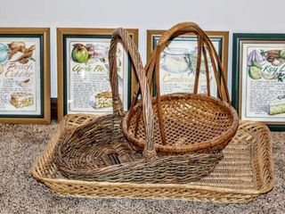 3  Decorative Serving Baskets Trays    4  Pie Recipe Framed Art