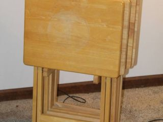 Set of  4  Oak TV Trays with Stand
