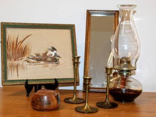 Variety of Home Decor   Signed Water Fowl Art  78   3  7  Brass Candlesticks  13  Vintage Glass Oil lamp  Floral Carved Coasters   Floral Inlay